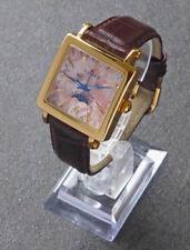 Luna Adleron Uhr Mondphase mit Lederband braun Viereckig Top Modell Armbanduhr