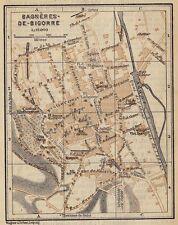 1914 ORIGINAL ANTIQUE CITY MAP OF BAGNERES-DE-BIGORRE / HAUTE-PYRENEES / FRANCE