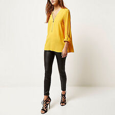 NWT £36 RIVER ISLAND BRIGHT NEON YELLOW ZIP UP NECK BLOUSE SHIRT TOP 8 34 4