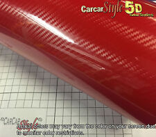 "5d Rojo Ultra Brillo 1520mm (59in) X 600 Mm (23,6 "") de fibra de carbono Vinilo Wrap pegatina"