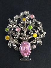 Ancienne broche panier fleuri argent massif marcassites et pierres Art Nouveau