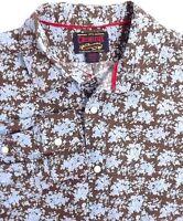 Cremieux Mens Pearl Snap Long Sleeve Shirt Size Large Blue Brown Floral Cotton