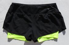 NIKE DRI FIT Black Mesh Neon Yellow Stretch Running Shorts size L EUC