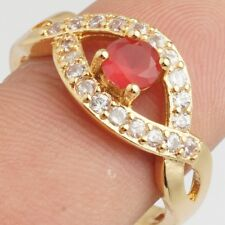 Small Red Clear Round Clear Cubic Zircon Gold Plated Lady Jewelry Ring Size 6