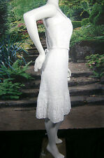 MELISSA SWEET WHITE WEDDING GOWN DRESS 8 COTTON LACE LINED SHORT STRAPS SASH NWT