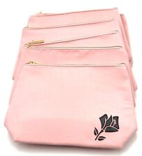 Lot of 8 : Lancome  Flower Print Cosmetic Makeup Bag Case Zipper ~ Pink