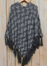Tickled Pink Womens Cross Hatch Fringed Poncho Gray NWT