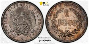 PCGS Uruguay 1893 One Peso Silver Coin Nice Toned AU Cleaned