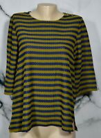 ISAAC MIZRAHI LIVE Blue Olive Green Striped Top Medium 3/4 Sleeves Unlined