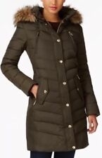 Michael Kors Jacket Coat Puffer Parka Hood Faux Fur Trim Down Dark Moss XXS $330