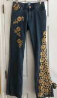 Cache Sequinned Women's Sz 4 Denim Jeans Embellished Gold Front Flowered