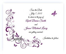 100 Personalized Custom Purple Butterfly Bridal Wedding Save The Date Cards