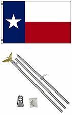 3x5 State of Texas Flag with 6ft Aluminum Flag Pole Kit Gold Eagle Set 3'x5'