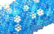 50 Aquamarine AB Czech Glass Flower Beads 8MM