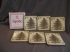 Set of 6 Spode Christmas Tree Cork-Backed Coasters with Box