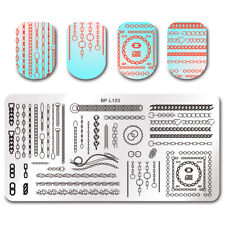 BORN PRETTY Nail Art Stamping Plates Rectangle Heart Chains Image Plates Decor