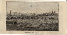 Stampa antica MONTEBELLO veduta panoramica Pavia 1898 Old antique print