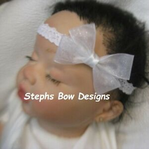 White Sheer Glitter Dainty Hair Bow Headband 4 Preemie Newborn Baby Todlr Easter