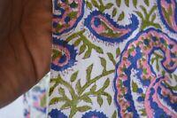 2.5 Yard Paisley Hand Made Block Print Fabric Beautiful Indian 100% Cotton (@)