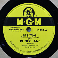Bob Wills Pliney Jane 78 VG++ Plays Great Western Swing I'm Tired of Living