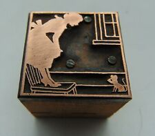 Vintage Printing Letterpress Printers Block Woman On Chair Looking @ Mouse