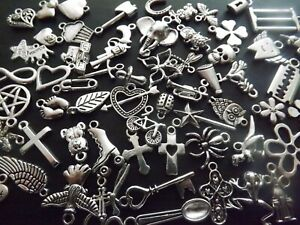 50 Mixed Pendant Charms Antique Tibetan Silver Tone Jewellery