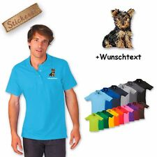 Polo Shirt Shirt Cotton Embroidery Dog Yorkshire Terrier 1 + Text of Your Choice