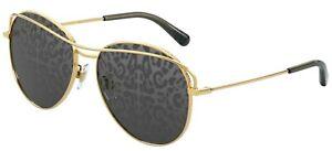 Dolce & Gabbana SLIM DG 2261 Gold/Dark Grey Mirrored (02/P) Sunglasses