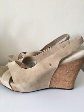 UGG Heeled Sandals Wedge Leather Nude/Beige Size UK7.5/EU40 £120!