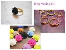 Ring Making Kit Ring Blanks Resin Flower Flatbacks Cabochons Makes 5 Rings