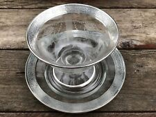 STERLING AND ETCHED GLASS SAUCE BOWL WITH UNDERPLATE HAWKES ?