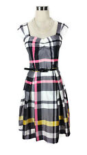 REVIEW Dress- 1950s/60s Vintage Style Check Plaid White Grey Pink Black Belt - 8