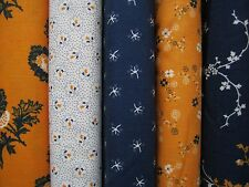 Penny Rose Cheddar & Indigo fabric 100% cotton  Fat Quarter Bundle of 5
