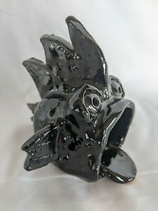 Outsider Art Ceramic Fish Kitschy Class Project ? Black Open Mouth