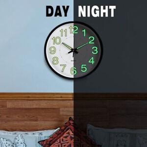 GLOW IN DARK Round Wall Clock Bedroom Kitchen Clocks Quartz NEW Silent Sweep