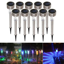 10X Garden Outdoor RGB Stainless Steel LED Solar Landscape Path Lights Lawn Lamp