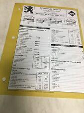 Technical Datasheet Automobile Peugeot 406 Turbo Diesel 1.9 2.1 Td Edition 1998