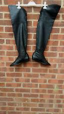 Vintage Black Leather Thigh Length boots UK size 4 EU 37