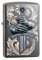 Zippo Knights Glove Design Black Ice Windproof Pocket Lighter, 49127