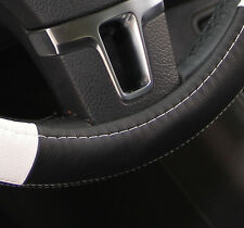 "New 14.75"" Black & White Steering Wheel Cover PVC Leather 58014 Thread & Needle"