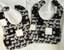 Set of 2 new homemade flannel patchwork baby bibs in Dachshund print