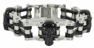 Chrome and Black Motorcycle Chain Bracelet with Black Skulls S, M, L Lengths
