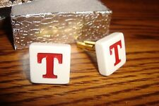 """ T "" Monogram Letter Initial Cufflinks 1 Pair (Two) * White-Red & Gold Tone"