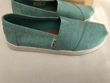 Toms Classic Turquoise Coated Linen slip-on Youth Big Girls shoes US size 5Y