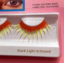 Long Bright Faux False Eyelashes BLACK LIGHT RAVE GLOW +Tube of Lash Glue-Clear