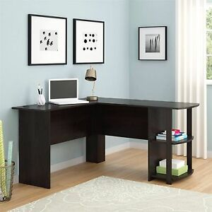 L-Shaped Desk with Side Storage; Multiple Finishes
