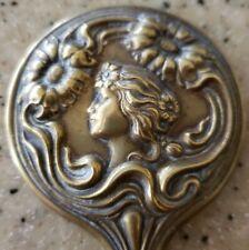 Miniature Art Nouveau Hand Mirror With Maiden Brass