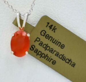 GENUINE 1.26 Cts PADPARADSCHA SAPPHIRE PENDANT 14K W GOLD * Free Appraisal