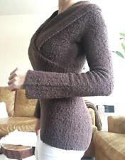 Moda international by VS boucle wrap sweater, size XS, chocolate brown