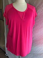 AVENUE Plus Sized 18/20 Hot Pink Fuschia Knit Top with Semi Sheer Shoulder
